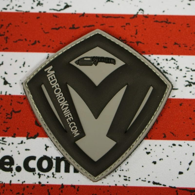 """3"""" Medford Shield Patch - Grey Background with Black Shield"""